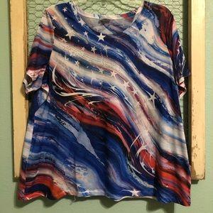 Plus size Patriotic Flowy blouse